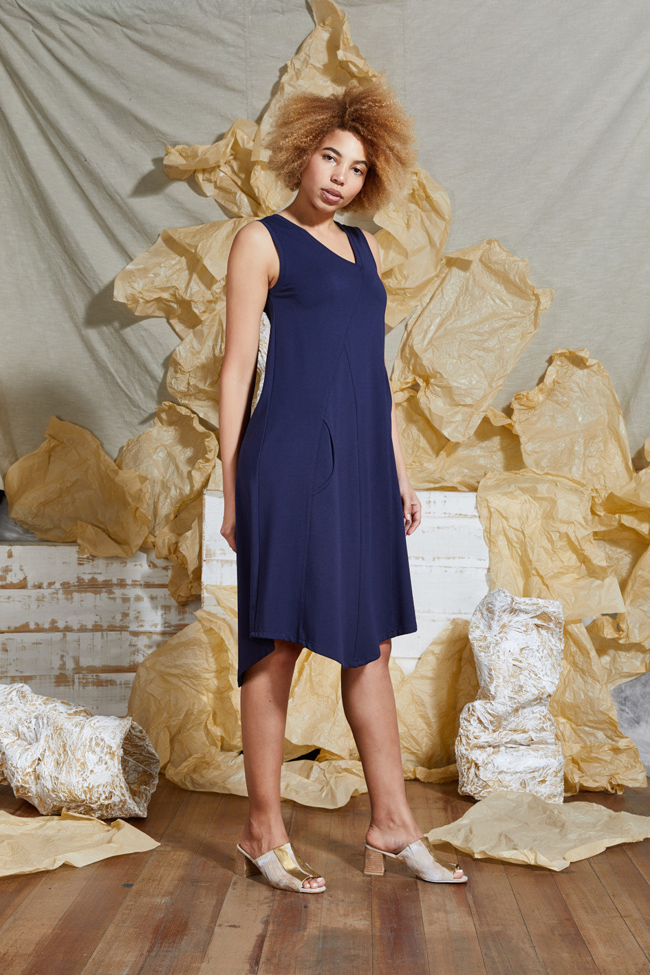 Navy Knit Sleeveless Dress