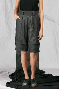 Charcoal Italian Wool Suiting Women's Unisex Shorts