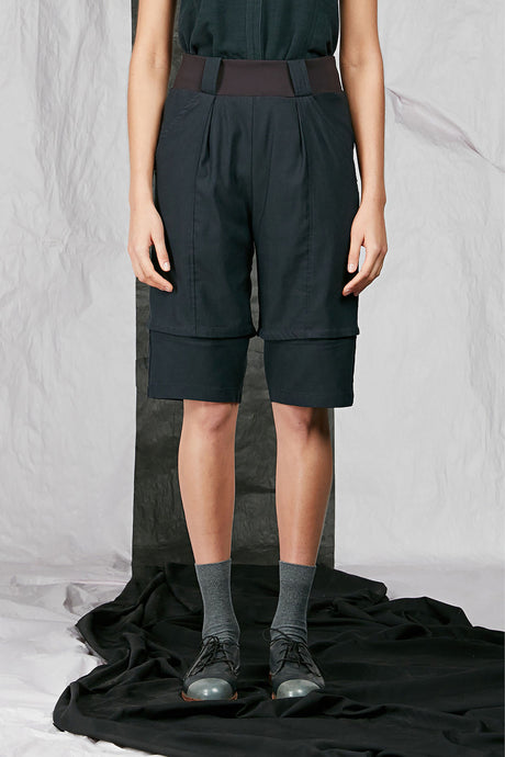 Women's Unisex Tailored Indigo Stretch Viscose Shorts