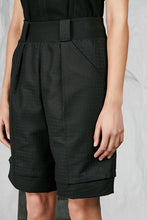 Load image into Gallery viewer, Women's Unisex Black Tailored Cotton Jacquard Shorts