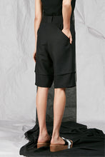 Load image into Gallery viewer, Women's Unisex Black Tailored Cotton Shorts with back pockets
