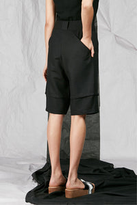 Women's Unisex Black Tailored Cotton Shorts with back pockets
