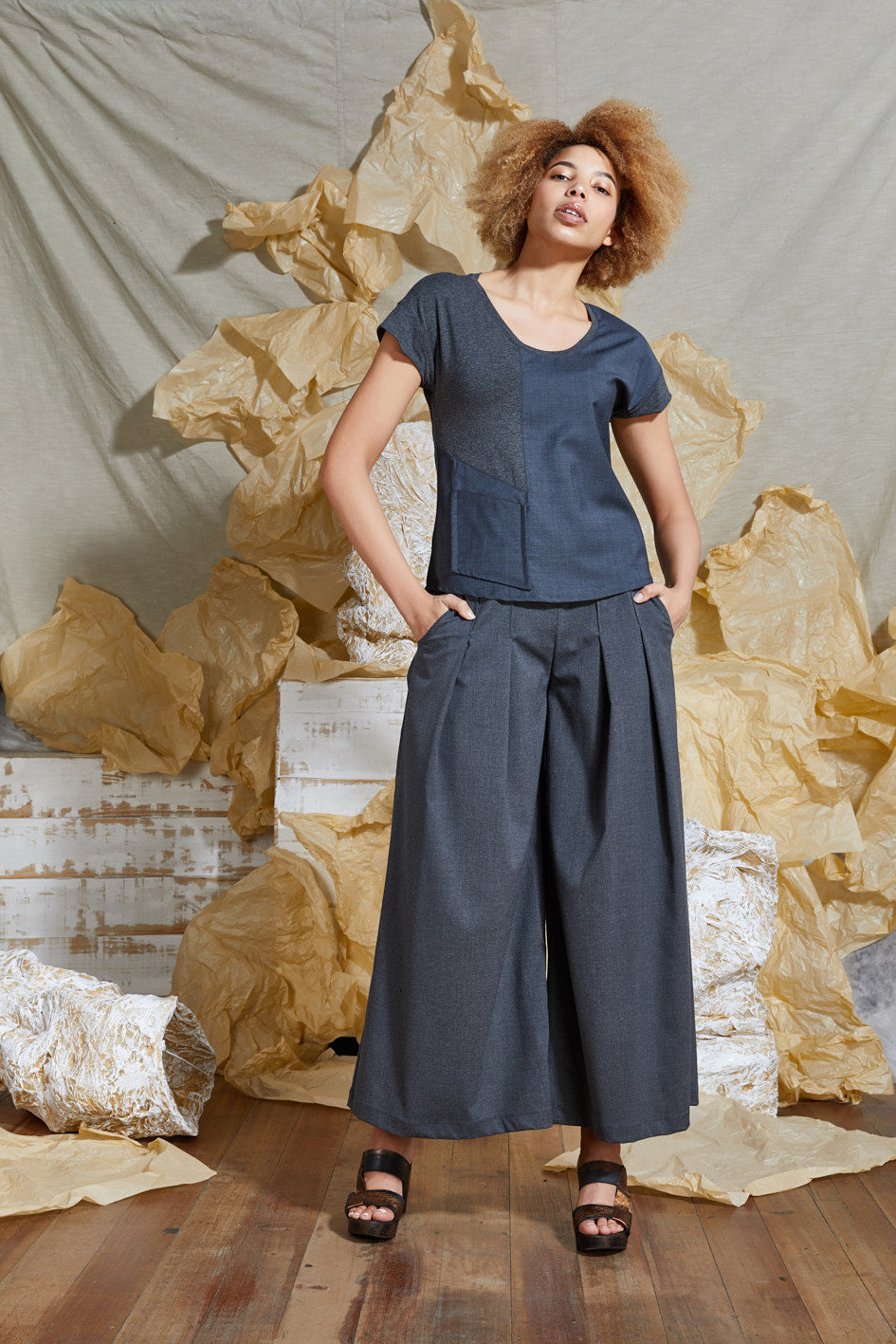 S/S 20 ELENI CAP SLEEVE TOP - DENIM SLATE