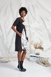 ELIE POCKET COWL DRESS - FRAGMENT MEMOIRS PRINT
