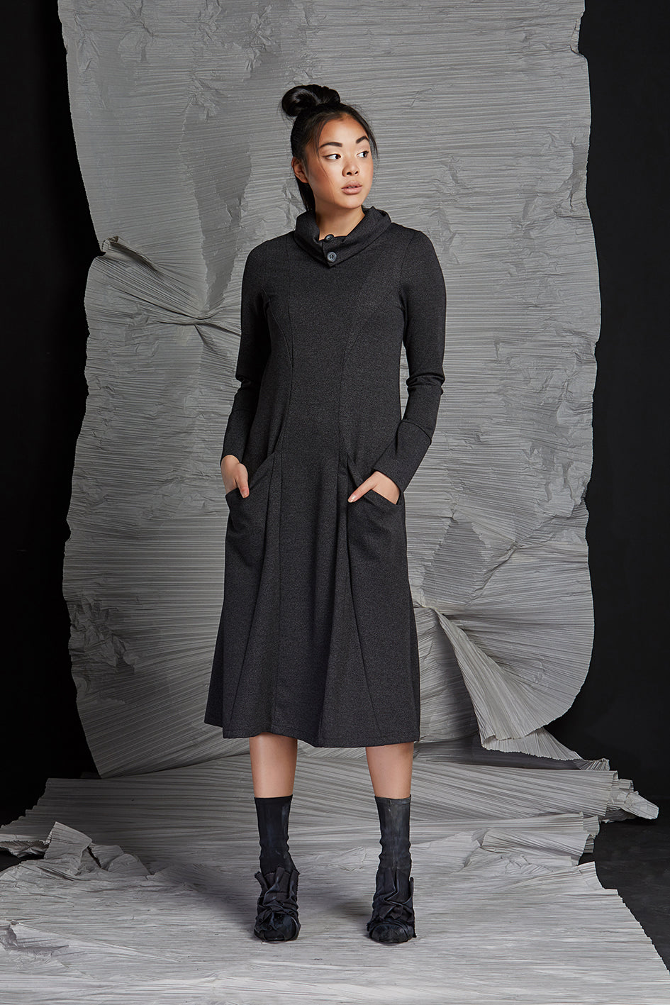 LINEA COWL NECK DRESS - GRAPHITE