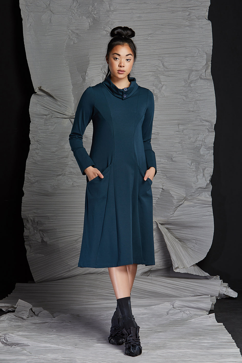 LINEA COWL NECK DRESS - LAGOON