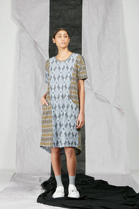 Dropped Kimono Sleeve Patterned Knit Tee Shirt Dress with Pockets