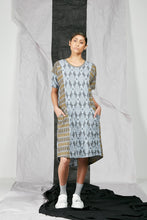 Load image into Gallery viewer, Dropped Kimono Sleeve Patterned Knit Tee Shirt Dress