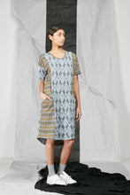 Load image into Gallery viewer, Dropped Kimono Sleeve Patterned Knit Tee Shirt Dress with Large Pockets