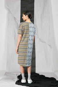 Dropped Kimono Sleeve Patterned Knit Tee Shirt Dress with contrast Panels