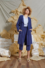 Load image into Gallery viewer, Indigo Linen Trench Jacket