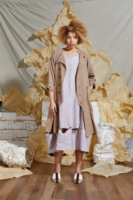 Long Linen Trench Coat