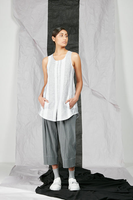 White Stripe Linen Women's Tank Top