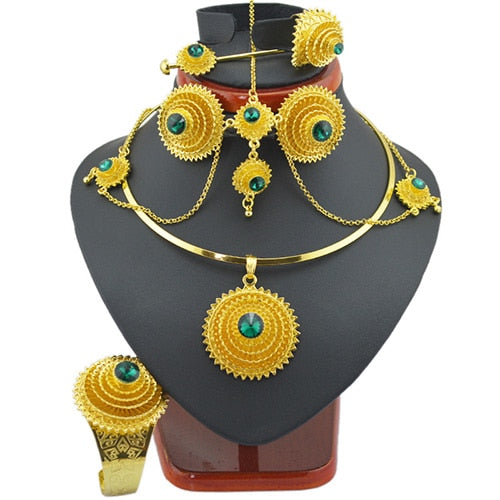 Fashion Ethiopian Jewelry Sets with Hair Piece