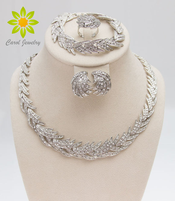 Crystal Leaves Silver Plated Jewelry Set