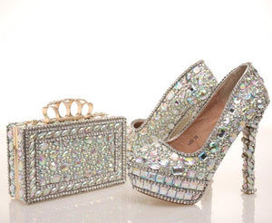 Blinging Crystal Womens Wedding Shoes with Matching Bag