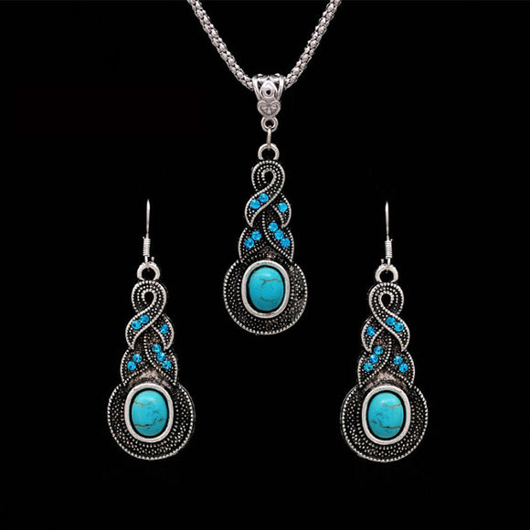 Bohemian Tibetan Silver Color Jewelry Set