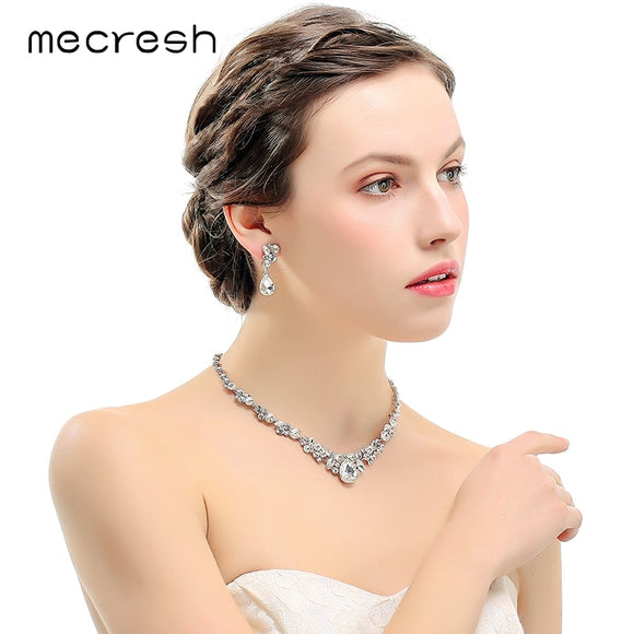 Silver Color Rhinestone Bridal Jewelry Sets