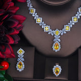 Charming Yellow CZ Wedding Jewelry Set