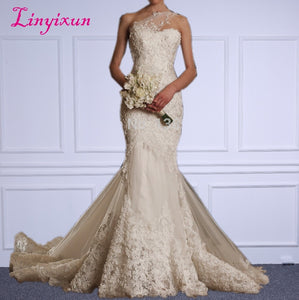 Luxurious One Shoulder Mermaid Wedding Gown