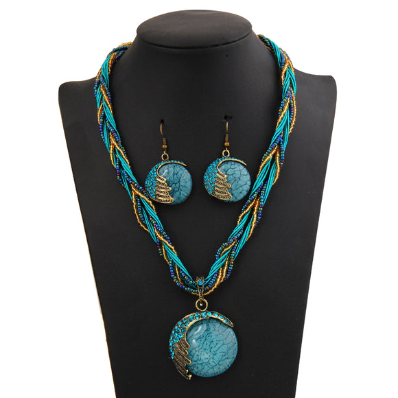 Bohemian Natural Stone Pendant and Earrings Set