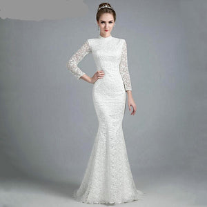Simply Elegant Vintage Lage Mermaid Wedding Gown