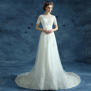 Vintage Short Sleeve Wedding Dress