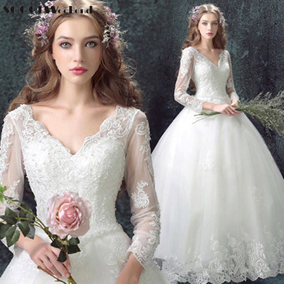Stunning Vintage Beading Long Sleeves Wedding Gown