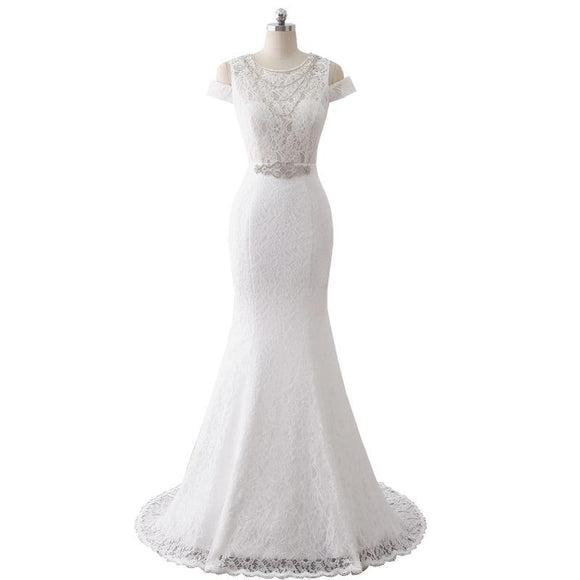 Lace Peak-a-boo Sleeve Mermaid Wedding Gown
