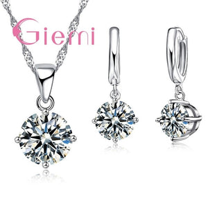 Crystal Pendant Necklace + Earrings Wedding Jewelry Set