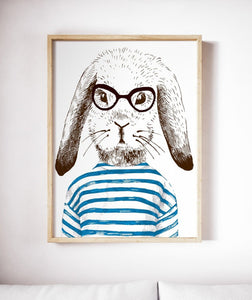 Rabbit Painting Poster Art Print Canvas Hare