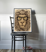 Lion Poster Art Print Canvas Hipster Animal