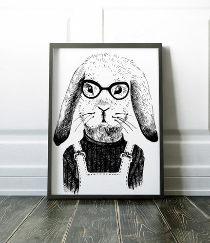 Rabbit Poster Art Print Canvas Animal Painting