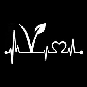 Vegan, Vegetarian Heartbeat Lifeline Vinyl Car Sticker