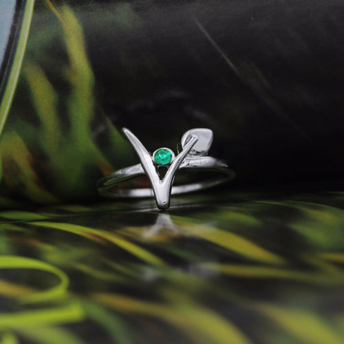 Green Stone Vegetarian Symbol Ring