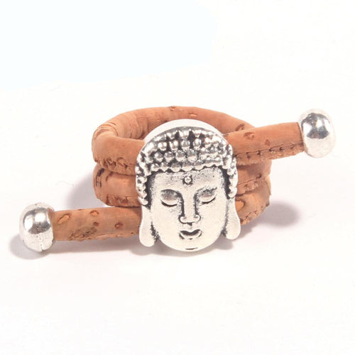 Vegan Natural Cork Antique Sliver Buddha Head Ring
