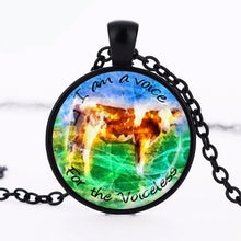 Vegan GLASS Pendant Necklace- I Am A Voice For The Voiceless