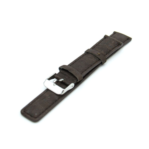 Vegan Portugal Cork Watch Strap Dark Brown with PU Leather