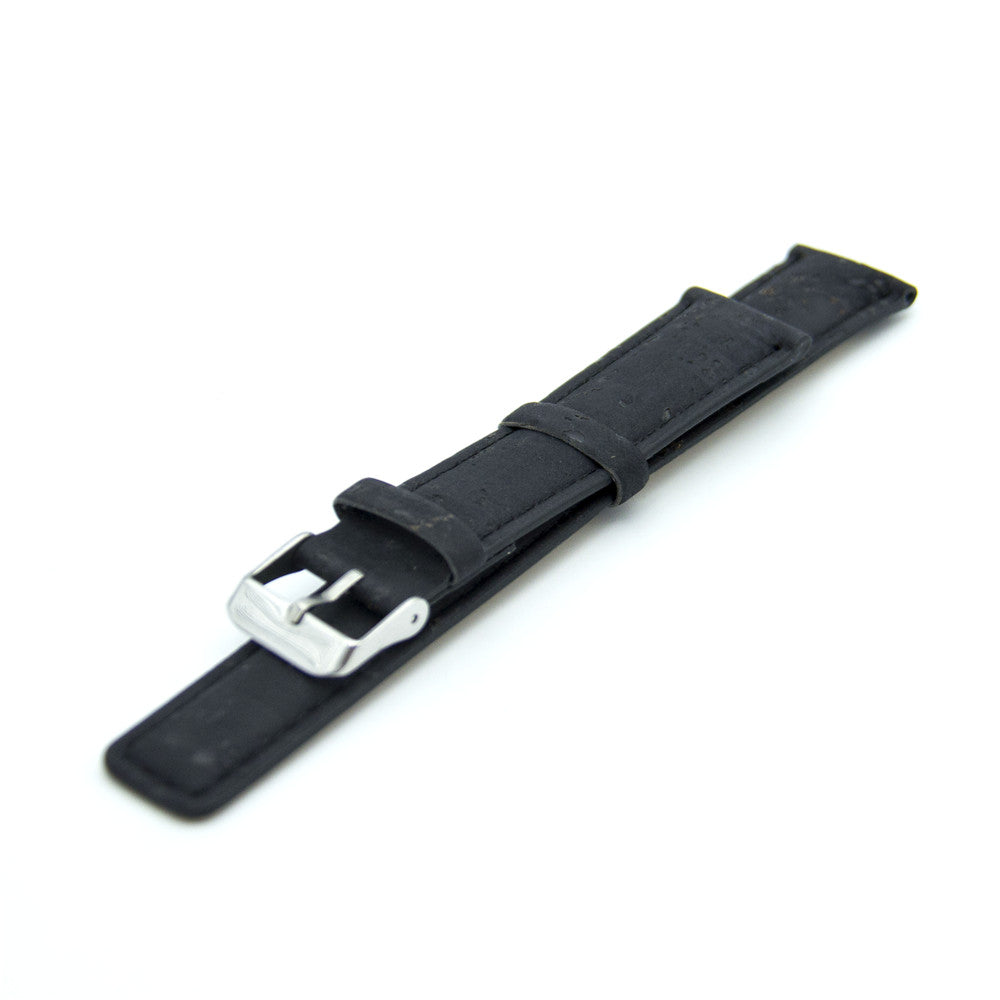 Vegan Black Portugal Cork Watch Strap with PU Leather High Quality