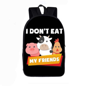 I Do Not Eat Friends Vegan Backpack, School Bags