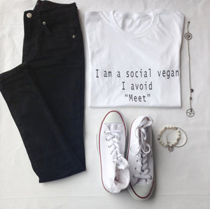 I Am A Social Vegan- I Avoid Meet T Shirt, Vegan Shirt