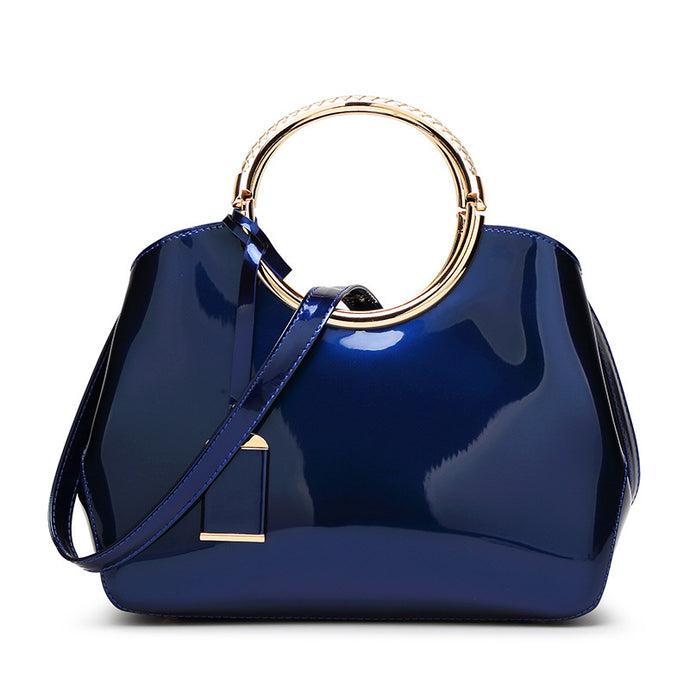 Patent Leather Messenger Handbag