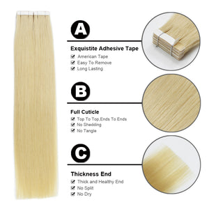 100% Remy Human Tape-In Hair Extension 20pcs/40g 21 Colors