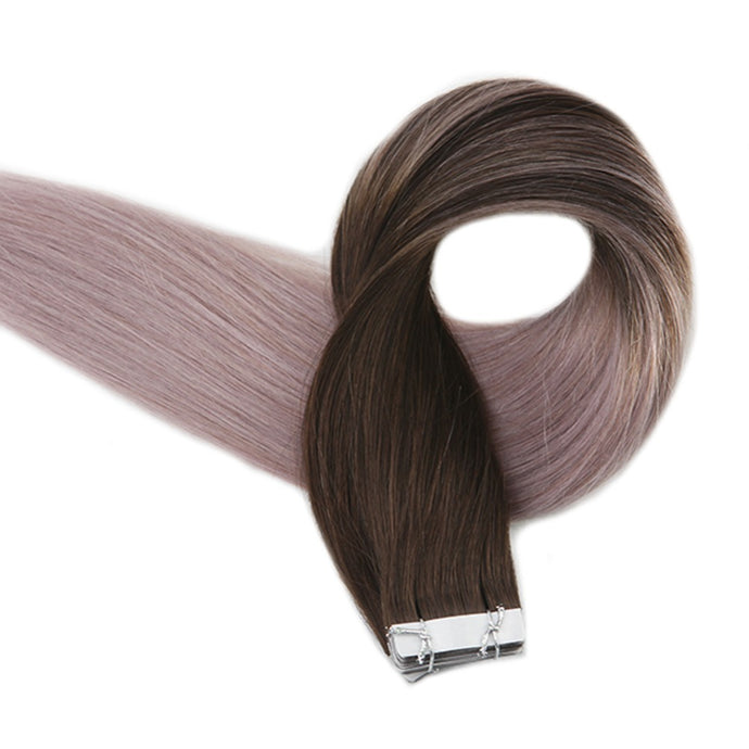 100% Human Remy Hombre Brown/Grey Only 20/pcs Tape-In 50g