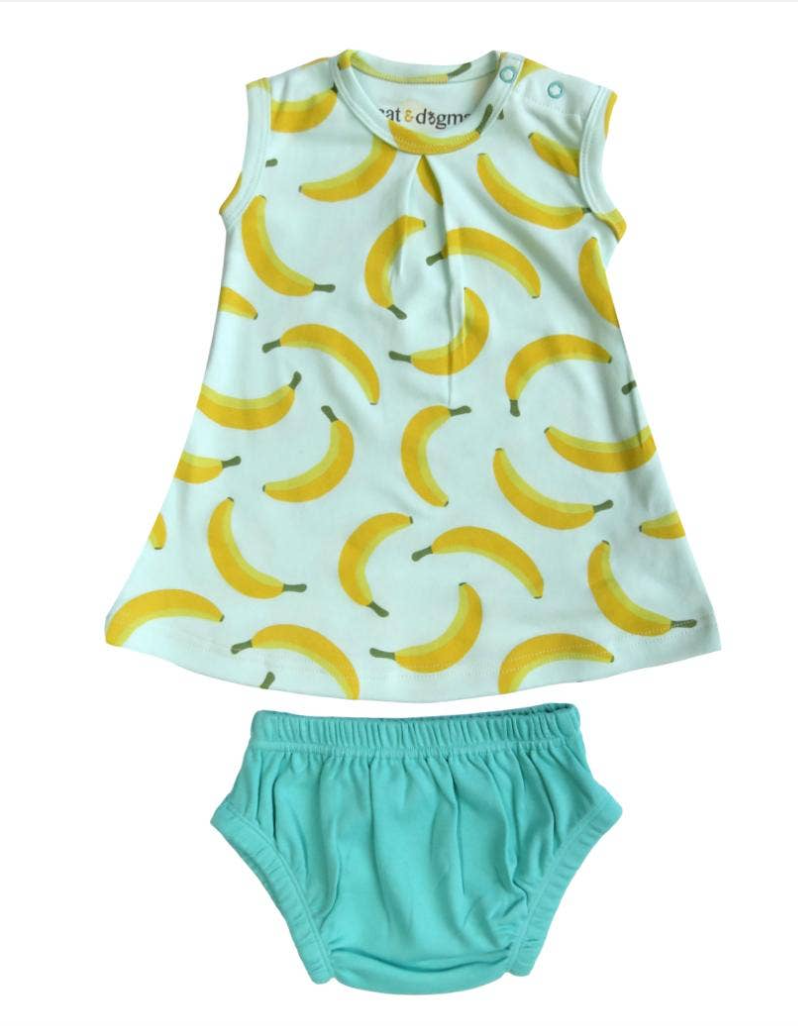 Cat & Dogma Organic Cotton Dress Set - Bananas