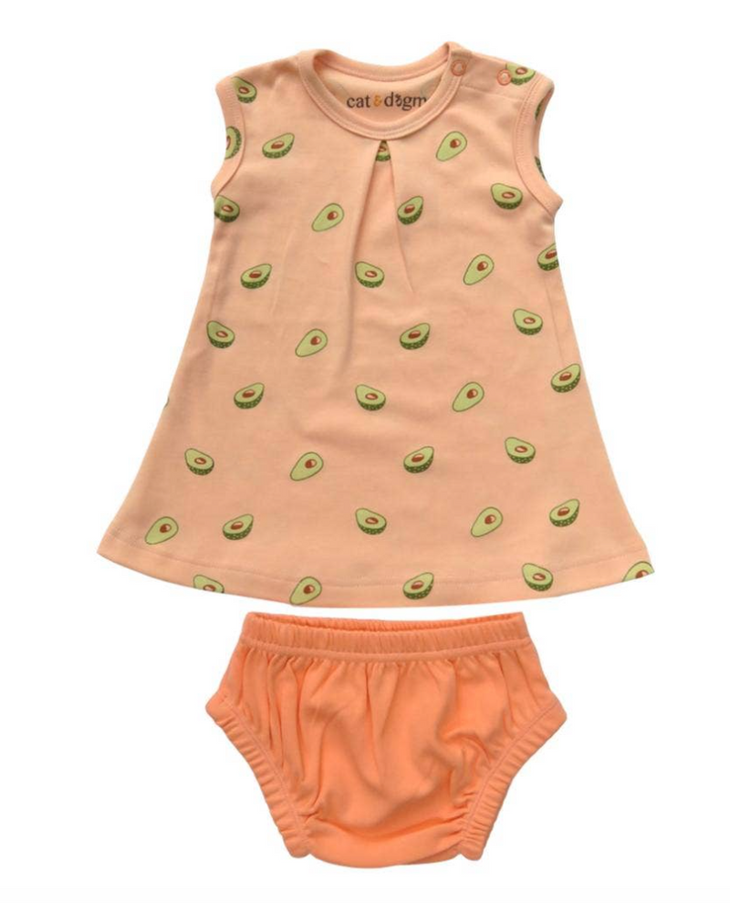 Cat & Dogma Organic Cotton Dress Set - Avocados