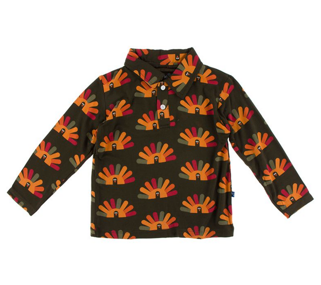 KicKee Pants Long Sleeve Polo - Bark Turkey