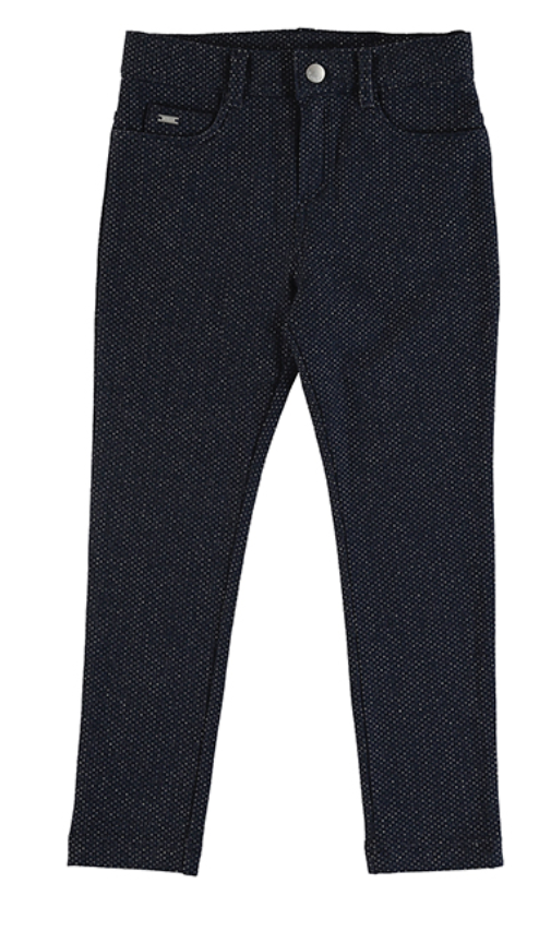 Mayoral Lurex Fleece Stretch Pants - Navy with Silver Glitter