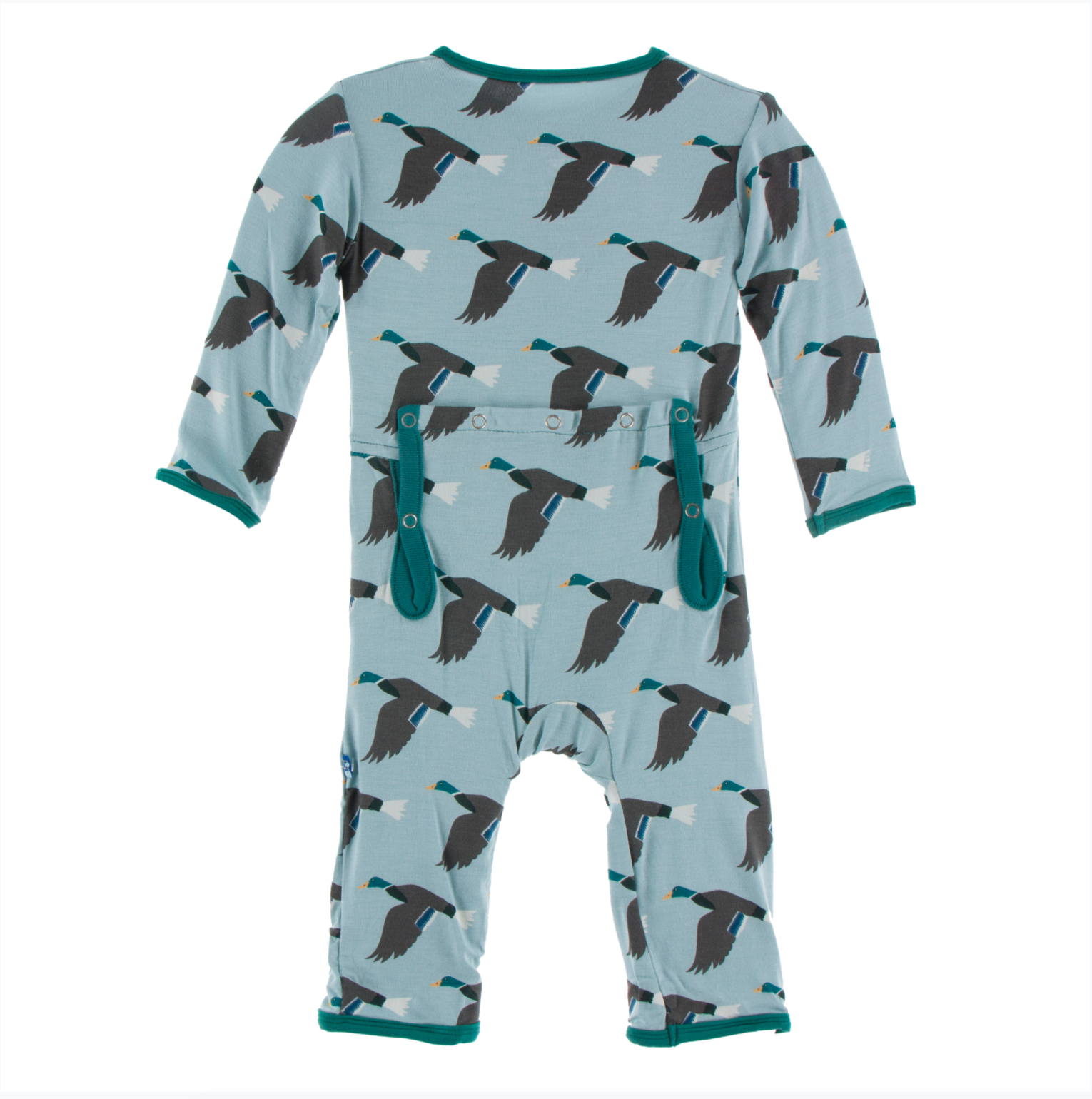 KicKee Pants Print Coverall with Zipper - Jade Mallard Duck