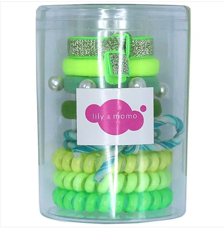 Lily and Momo Hair Ties Color Pop Set - Neon Green